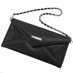 CHANEL Mademoiselle 31 Letter Chain Used Pouch Bag Black Leather Auth #ZZ161 M