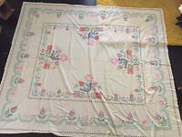 """Vintage Embroidered Cross Stitch Sheet, unfinished 85"""" x 97"""""""