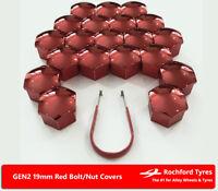 Red Wheel Bolt Nut Covers GEN2 19mm For VW Transporter T5 03-15