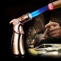 JOBON Luxurious Windproof 4 Quad Jet Flame Butane Gas Torch Cigar Lighter Golden
