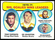 1971-72 TOPPS HOCKEY NHL LEADERS #4 ED JOHNSTON TONY ESPOSITO GERRY CHEEVERS NM