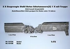 Neu Nr.1273A 2xGesprengte Stahl/Beton-Schutzmauern(2) mit Treppe 1:72 f.Diorama