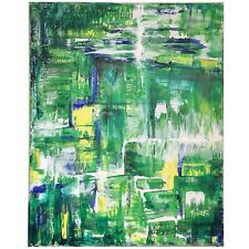"""Green abstract original modern acrylic canvas painting 16x20 16"""" 20"""""""