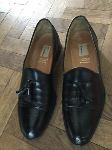 Mens Moreschi  Russell&Bromley Black Leather Majesty Tassel Loafer Shoes Size 11