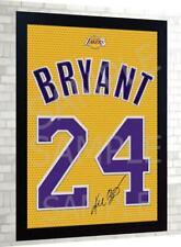 Kobe Bryant LA Lakers NBA signed autograph JERSEY T-SHIRT 100% canvas Framed