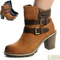 Damenschuhe Stiefeletten Ankle Boots Plateau Stiefel Booties Blockabsatz Riemen
