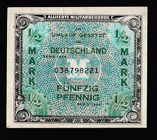 1944 Germany 1/2 Mark paper money bank note WWII