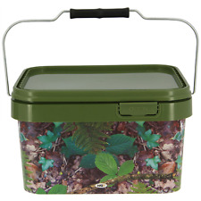 Carp Fishing Camping 5L Camo square bucket for Boilies Pellets and Baits NGT New
