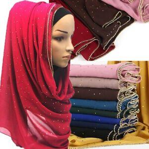 Fashion Solid Scarf Hijab Muslim Gold Chain Scarves Chiffon Crystal Scarf Shawls