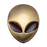 3D Alienware Metal Alien Head Car Decal Sticker Badges Emblem Green Patina