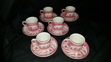 Syracuse China 12 PC Espresso Cups & Saucers Airbrush Pink Leaf Design 4-BB USED