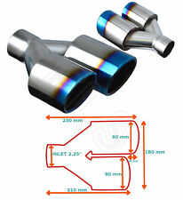 """BURNT TIP UNIVERSAL EXHAUST TAILPIPE PAIR 2.25"""" INLET GW-ET095-B-P  CRY"""