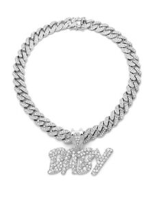 LIL BABY DIAMOND SILVER CUBAN LINK CHAIN NECKLACE HIP HOP RAPPER ICED