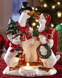Christmas Decoration Geese Family Carolers Votive Tealight Resin Candle Holder