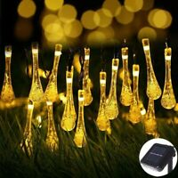 Solar Powered Water Drop String Lights 20 30 50 LED Warm White Xmas Fairy Lamp