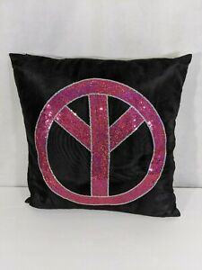Sequin Peace Pillow pink black silky 15 x 15 bed throw accent bedding child boho