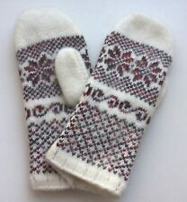 Women's Knitted Sheep wool mittens Warm Snowflake white Multi L Russia