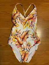 Kona Sol V-Neck Cross Back One Piece White & Floral Leaves Swimsuit Size M NWT