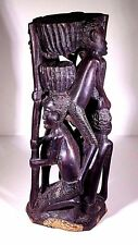 "VINTAGE 8-3/4"" AFRICAN FAMILY MAKONDE TREE OF LIFE EBONY WOOD CARVING SCULPTURE"