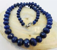 """8-18mm Faceted Dark Blue Sapphire Gemstone Roundel Beads Necklace 19"""""""