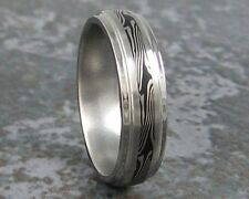 Mokume Gane Titanium & White Gold Wedding Band Custom Made Any to Size to 3-22