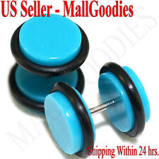 2046 Turquoise Blue Fake Cheater Illusion Faux Ear Plugs 16G - 00G = 10mm - 2pcs