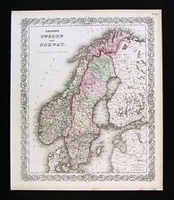1874 Colton Map - Sweden Norway Oslo Stockholm Christiansand Baltic Sea Finland