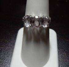 Size 6 Genuine Kunzite & Diamond Three Stone 10K White Gold Ring ATGW 3.36