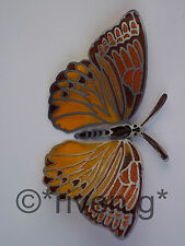 BUTTERFLY@FRIDGE MAGNET@Stained Glass@SILVER Plated@Loveable Insect@ORANGE@BROWN
