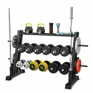 3-Tier Weights and Barbell Storage Rack Barbell Dumbbell Kettlebell Weight Plate