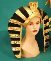 ADULT BLACK GOLD EGYPTIAN PHARAOH KING TUT CLEOPATRA COSTUME HAT HEADPIECE