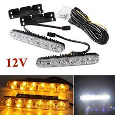 2Pcs 12V 6000K 6LED DRL Daytime Running Light Daylight+Amber Turn Signal Lamps