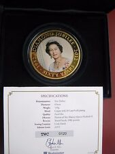 Islas Cook Jubileo de Diamante 5 dólares 2012 chapado en oro moneda PROOF-LIKE 65 mm