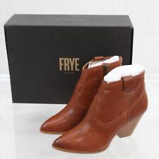 NIB Women's Frye Reina Bootie Leather Boots, Cognac/Brown, Size 9.5
