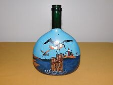"Vintage Art 8"" High Hand Painted Ocean Seagull Light House Wine Bottle *Empty*"