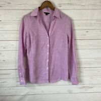 Brooks Brothers Linen Long Sleeve Button Down Blouse Size 4 Purple Pink Top