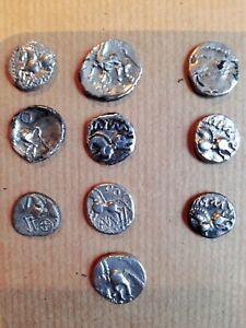 Monnaie Gauloise Lot De 9 Quinaires Argent Variés +1 Fourré