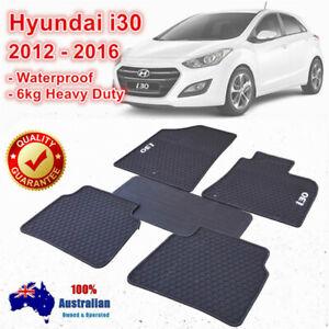 Rubber Car Floor Mats Tailored For HYUNDAI i30 GD Series 2012 - 2017 Black white