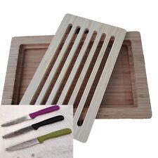 Tagliere In Legno Bamboo Grande Da Cucina Per Pizza Pane Taglieri  + 6 coltelli