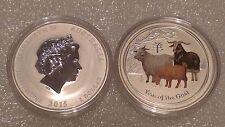 "Australian Lunar II ""Year of the Goat"", ( Coloured ) 2015, 1 Oz Silver coin"