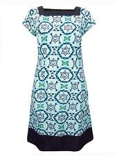 LADIES GRACE BLUE PURE COTTON SQUARE NECK PRINTED SHIFT DRESS SIZES 10 to 18