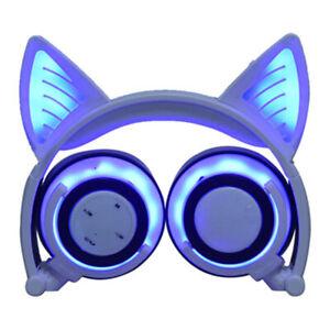 Gamer Cat Ear Bluetooth Headphones Audio Wireless LED Mic Stereo Headset Cute