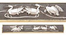 Antique Japanese Kozuka Silver Cranes Nanako Samurai Sword Fitting Koshirae Old
