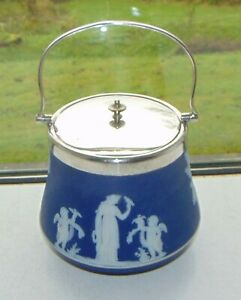 Wedgwood Dark Blue Jasper Ice Bucket c1910 Silver Plate Lid and Handle
