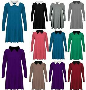 Ladies Women Peter Pan collar Flared Swing Dress Plain Long Sleeve Top Plus Size