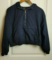FOREVER 21 WOMENS BLUE LONG SLEEVE PARTIAL ZIP UP CROPPED JACKET SIZE MEDIUM