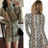New Women Snake Skin Print Bodycon Dress Long Sleeve Package Hip Slim Mini Dress