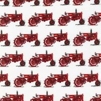Farm Country Fabric - Vintage Red Tractors on White - Robert Kaufman YARD