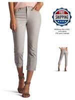 LEE Womens Easy Fit Cameron Cuffed Capri Jean Beige Size 18 Medium