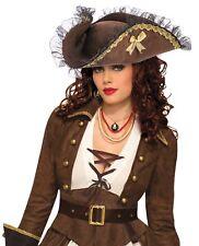 Brown Tri Corner Pirate Hat ADULT Womens Costume Accessory NEW